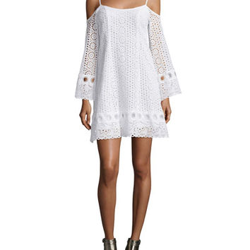 Nanette Lepore Cold-Shoulder Eyelet A-line Dress, White