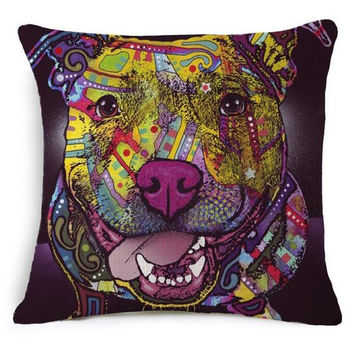 French Bulldog Pug Dog Cushion Bull Terrier Colorful Cat Scandinavian Pillow Cushion Cotton Linen Nordic Euro Pillow Decorative