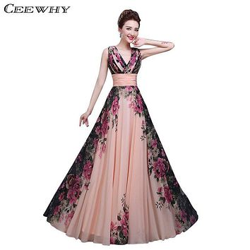 Floral Printed V-Neck Sleeveless Chiffon A-Line Formal Evening Dress Long 2016 Floor-Length Evening Party Prom Dress Pregnant