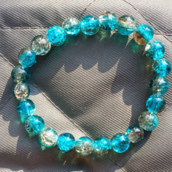 Women's Stretch Bracelet. Beaded. Blue and Brown Crackle beads. Handmade. Jewelry