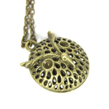 Great Owl Necklace Vintage Hollow Bird Cage Gold Tone Pendant ND09 Retro Indie