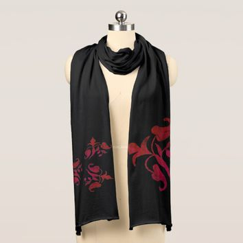 Stylish Rich Red Floral Pattern Jersey Scarf