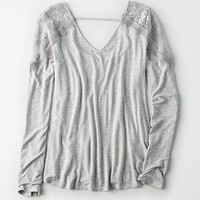 AE Lace-Shoulder V-Neck Top, Gray
