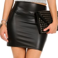 Pre-Order Black Faux Leather Mini Skirt