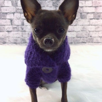 Dog Sweater | Purple | Pets Clothing | Hand Crochet Dog Clothes | Button Dog Jacket by BubaDog