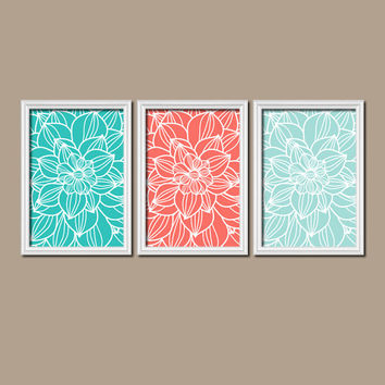 Coral Turquoise Bedroom Wall Art Bathroom Wall Art Bedroom Pictures Flower Wall Art Flower Pictures Dahlia Flower Prints Set of 3 Home Decor