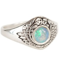 Talon Opal Feathers & Flowers Ring