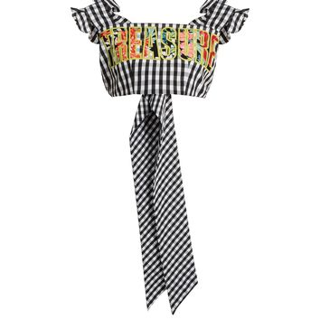 Treasure-embroidered gingham cropped top | House Of Holland | MATCHESFASHION.COM UK