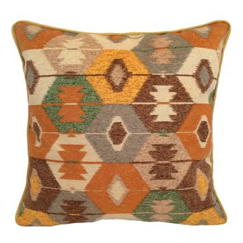 """Upholstery/Faux Suede Ikat 18""""x18"""" Orange/Gray/Green/Cream Pillow Case/Cushion Cover"""