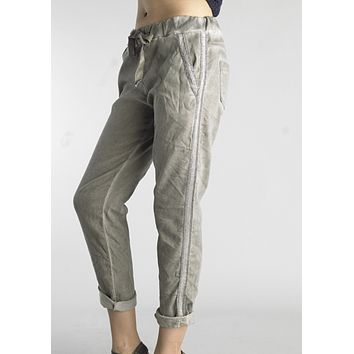Taupe Cotton Sequined Pants