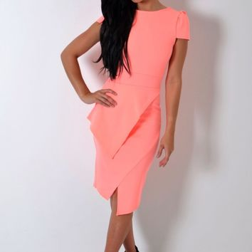 Reece Neon Peach Split Hem Peplum Bodycon Midi Dress | Pink Boutique