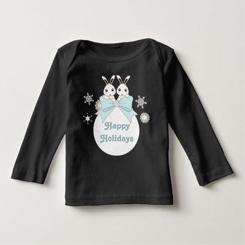 Pretty Twin Bunnies and Snowflakes Holiday T Shirt