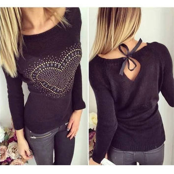 ZANZEA 2016 Black White Sexy Women Sweater Autumn Winter O Neck Bowknot Hollow Out Pullovers Long Sleeve Knitted Tops Pull Femme