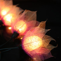 20 Pink-Purple Tone Flower Leaves Fairy String Lights Hanging Wedding Gift Party Patio,Bedroom fairy lights,Home Floral Decor