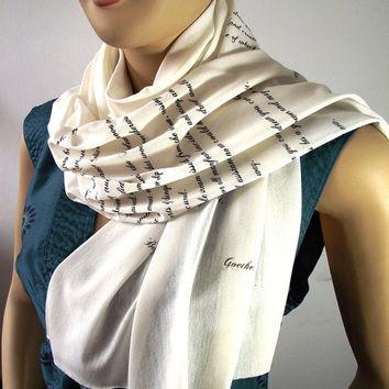 GOETHE Scarf Book Quote Scarf - Begin it now - Jersey Raw Egde Handprinted Scarf IVORY Text Literary Scarf Book Lovers Gifts