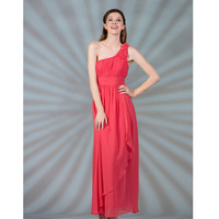 2013 Prom Dresses - Coral One Shoulder Chiffon Prom Dress