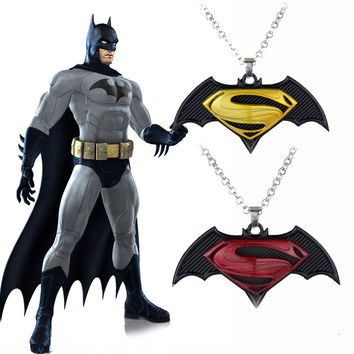 A variety of Trendy Movie The Avengers Superman vs Batman Necklace Metal Superhero Logo Pendant Necklace Jewelry for Souvenirs +Christmas gifts