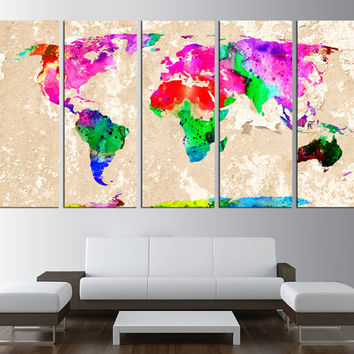 World Map Canvas wall art print, Large wall Art, World Map wall art ready to hang, watercolor world map, extra large art 519