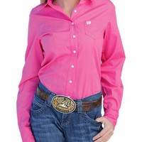 Cinch Women's Solid Pink Button Down Western Shirt