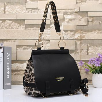 Burberry Women Leopard Print Leather Satchel Tote Shoulder Bag Crossbody