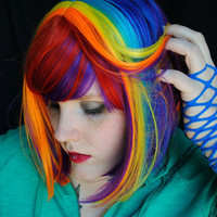 BACK to SCHOOL SALE Rainbow Magic wig // Red Purple Blue Yellow Pink Orange -- Scene Punk Hair