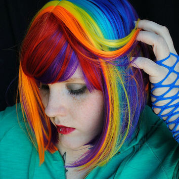 Summer SALE Rainbow Magic wig // Red Purple Blue Yellow Pink Orange -- Scene Punk Hair