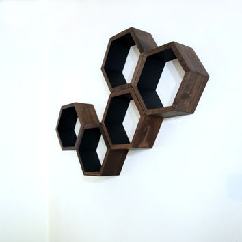 Wood Floating Shelves - Honeycomb Cubby Shelves - Modern Geometric Hexagon Shelves - Wood Floating Shelves - Set of 5 Medium Size