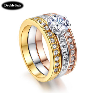 Classic Designer 3 Round CZ Diamond Paved Engagement Rings Sets For Women Gold Plated Crystal Wedding Ring Jewelry DWR107