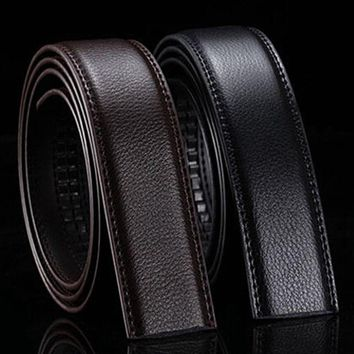 HooltPrinc Brand No Buckle 3.5cm Wide Genuine Leather Automatic Belt Body Strap Without Buckle Belts Men Good Quality Male Belts