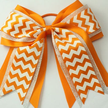 "Chevron Orange Cheer Hair Bow. Hair Bow. Orange Large Bow. 6"" Bow. Cheer Bow. Chevron Large Bow. Girls Hair Bows. Hair Bow . Big Bows."