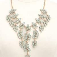 Faceted Stone Leaf Statement Necklace by Charlotte Russe - Gold