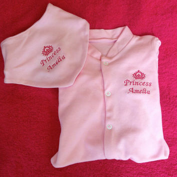 2 piece set Embroidered  sleep suit with dribble bib girl or boy or DESIGN YOUR OWN