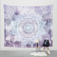 DEEP PURPLE MANDALA Wall Tapestry by Nika