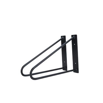 Pair of Original Hairpin Shelf Brackets | Floating Desk Brackets - Jet Black