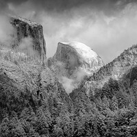 Yosemite Black and White Photo, Yosemite Print, Half Dome Landscape, California Canvas, Matted Fine Art Print, Canvas Gallery Wrap, Wall Art