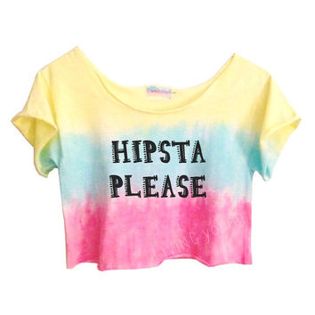 OMBRE PASTELS Unique Tie Dye Crop Top Retro Custom Shirt Hipsta Please