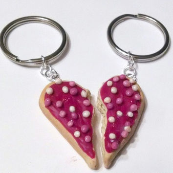 Best Friends Valentines Day Sugar Cookie Heart Halves Key Chains, Polymer Clay Key Chains, Miniature Food