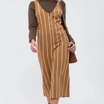 Women's V-Neck Striped Jumpsuit with Wide Culotte Legs