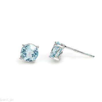 6mmSterling Silver Sky Blue Topaz Stud Earrings