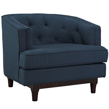 Modway Coast Armchair in Tufted Azure Fabric on Walnut Finish Legs