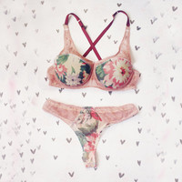 Floral and beige lycra lingerie set / Padded bra and panties / Made to order