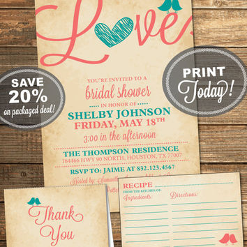 Bridal Shower Package, Invitation, Recipe Card, Thank You Card, Aqua, Teal, Coral, Love, Birds, Heart, Printable File (INSTANT Download)