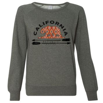 California Republic Native Ladies Lightweight Fitted Crewneck