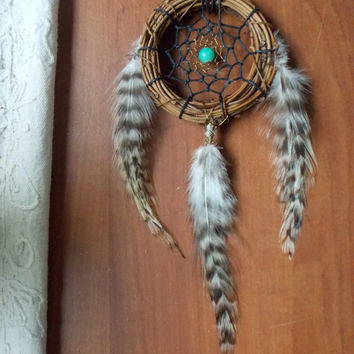 Bohemian Dream Catcher with Seafoam Green Glass // Hippie Boho Dorm Apartment Office Home Decor