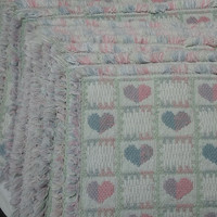 Set of 10 Vintage 1980s Hearts Woven Reversible Place Mats with Fringe, Pink & Blue with Green, 17 x 12 Inches, 1980s Country Hearts