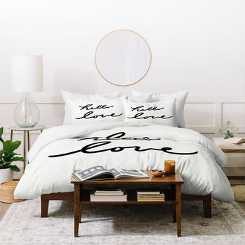 Lisa Argyropoulos Hello Love On White Duvet Cover