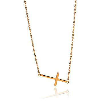 Rose Gold Plated Sterling Silver Sideway Cross Necklace