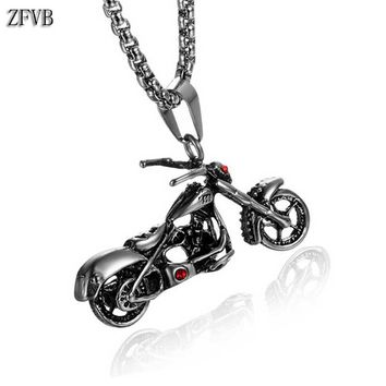 ZFVB Hiphop Motorcycle Necklaces Men's 316L Stainless Steel Punk Skull Skeleton Necklace Pendants Red Crystal Statement Jewelry
