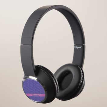 Pink stars on a blue background. Add name. Headphones