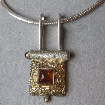 Vintage Modernist Sterling Silver, Vermeil & Baltic Amber Slide Pendant on Omega Chain Necklace
